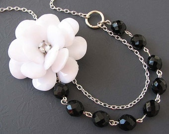 Flower Necklace Black Jewelry Statement Necklace White Jewelry Bib Necklace Bridesmaid Jewelry