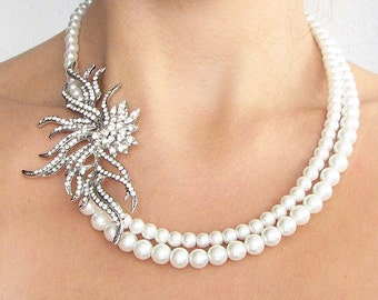 Bridal Necklace Pearl Wedding Jewelry Wedding Necklace Bridal Jewelry Crystal Necklace Bridesmaid Gift by Zafirenia