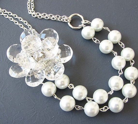 Wedding Jewelry Wedding Necklace Bridal Jewelry Flower Necklace Bridesmaid Jewelry Bridal Gift Multi Strand