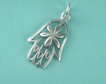 Sterling Silver Hamsa Hand and Heart SMALL Thai Charm 19x11.5mm
