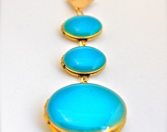 Turquoise Blue Lockets Trio Necklace Statement Piece Layering Jewelry - More Colors Available