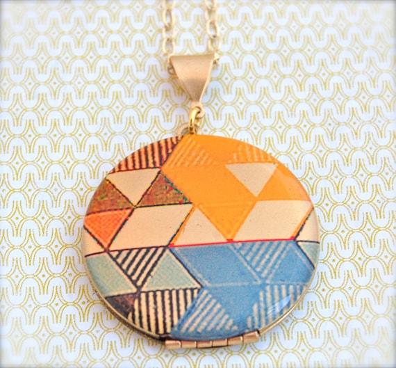 "Alyson Fox Vintage Art Locket Necklace ""Detail Color Study"""