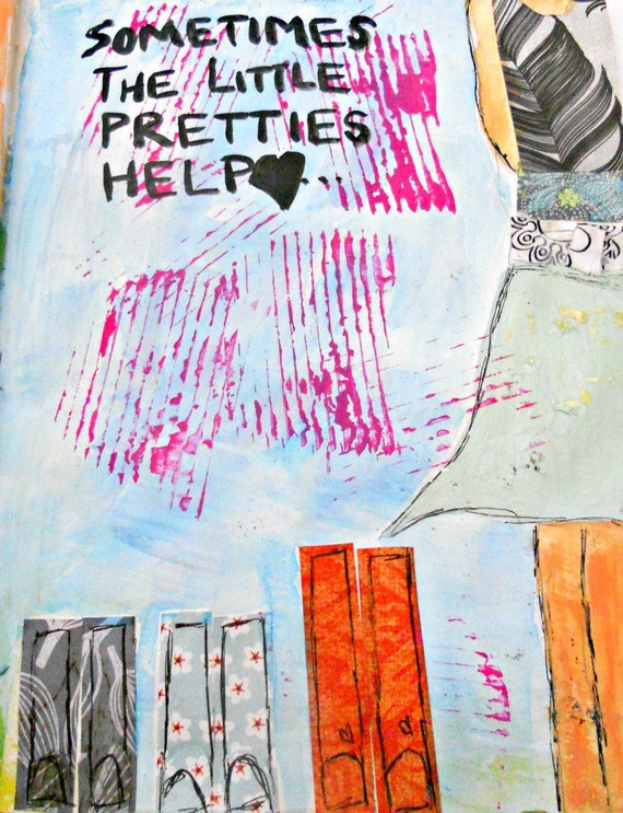 Mixed Media Original 6x9 Pretties Boots Altered Book Friendship Soul Art Words