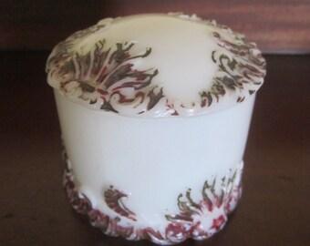 Antique Hand Painted Seaweed Embossed Milk glass Dresser Jar with Lid