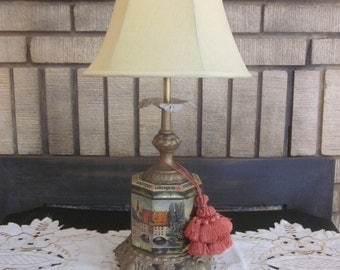 Tuscan Villa Upcycled Tin Can Lamp with Tassle