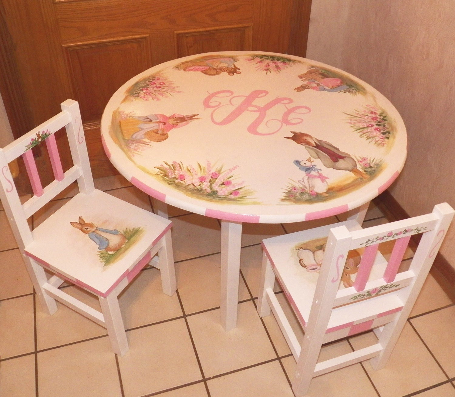 Custom Designed Bunny Rabbit Table and Chair set with