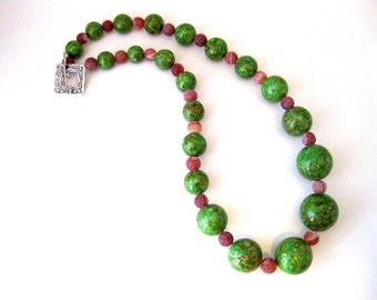 Green Mosaic Turquoise and Frosted Carnelian