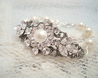 Bridal Pearl bracelet, Bridal rhinestone bracelet, bridal bracelet, cuff bracelet, wedding jewelry, Swarovski crystals and Swarovski pearls,