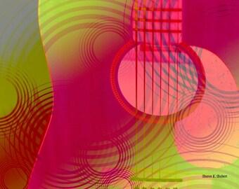 Guitar POP Art, Digital Contemporary Artwork, Pink Green, Abstract Guitars, Neon Colors, Home Decor, Wall Hanging, Giclee Print, 8 x 10