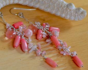 Pink Coral Earrings. Sterling Silver Earrings. Coral and Quartz Cluster Dangle Earrings. Gemstone Earrings.