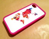 Colorful World Map Custom Insert with Fuscia Bumper for iPhone 4 And 4s - unique iphone cases, gift, globe