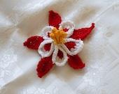 columbine flower hair clip, floral barrette
