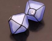 SRA Lampwork Beads Handmade Glass Etched Blue Crystals Black Pair Heather Behrendt BHV LETeam