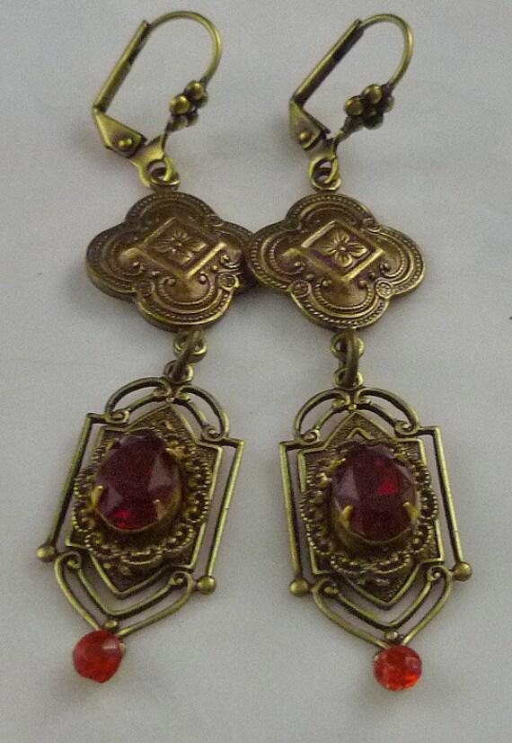 Vintage Art Nouveau Style Handmade Garnet and Ruby Rhinestone Earrings