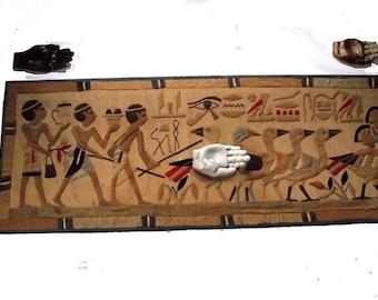 Egyptian Wall Hanging 60s Applique Souvenir Textile Art  Boho Art Deco Decor