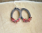 Grey and Pink Beaded Oval Crochet Earrings So Chic. Lightweight Jewelry