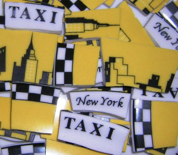 150 Mosaic Plate Tiles NEW YORK TAXI Yellow Taxi By