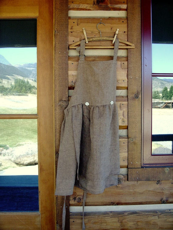 Brown Linen Apron with Antler Buttons size small-medium