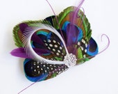 ATLANTIS in Purple - Fantastical Peacock Feather Bridesmaids Fascinator Hairclip - Made to Order