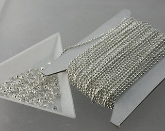 SALE Sale 32 ft. spool of Sterling Silver finished ball chain - 1.5mm ball size with 100 pcs of connecotor (crimp type) - ship from CA USA