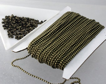32 ft. spool of Antique Brass finished ball chain - 1.5mm ball size with 100 pcs of connector(insert) -shp from CA USA