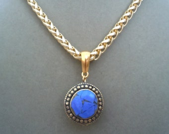 Bayou-- Lapis and Gold Vermeil Focal Pendant necklace