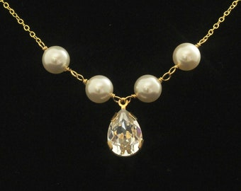 Gold Bridal Jewelry, Pearl Necklace, Rhinestone Wedding Necklace, Bridal Jewelry, Swarovski Crystal Bridesmaid Necklace -- DAPHNE