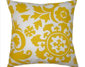 CLEARANCE - Premier Prints Suzani Corn Yellow Decorative Throw Pillow Free Shipping