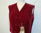 1960s Velvet Vest Vintage Koret of California Red Deadstock