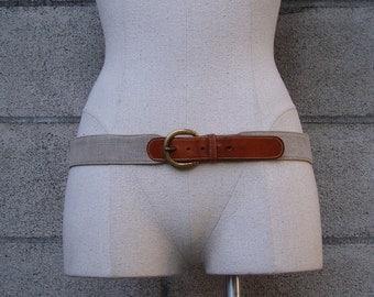 Belt Leather Linen Vintage 1980s Brown Tan