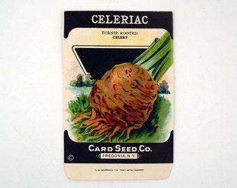 Vintage 1920s Unused Paper Seed Packet Celeriac