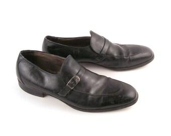 Vintage 1970s Men's Black Leather Dress Shoes