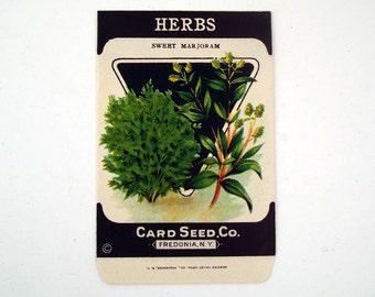 Seed Packet Vintage 1920s Unused Paper Herbs Sweet Marjoram