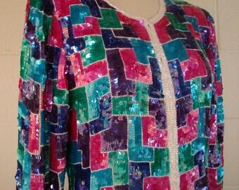 Stenay Sequin Jacket Vintage 1980s Coat top