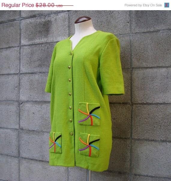 Vintage 1980s Steve Fabrikant Cardigan Sweater Lime