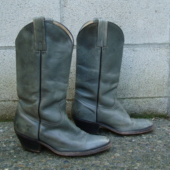 Frye Cowboy Boots Vintage 1970s Distressed Gray Leather size Men's 8 1/2 D