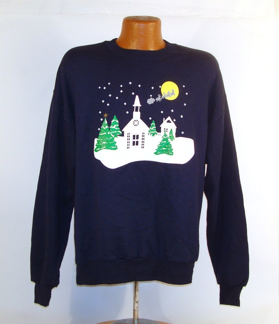 Ugly Christmas Sweater Vintage Sweatshirt Church Steeple Xmas Tacky Holiday