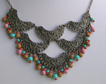 Bib Necklace Signed Ben Amun Etruscan Style Silver Glass