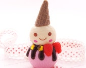 Kawaii Charm Cell Phone Charm Pink Ice Cream Scoops with Cone CM14