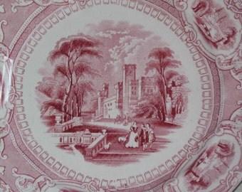 2 Corinthia E. Challinor red transfer Plate circa 1842-1867 Turnstall Staffordshire England