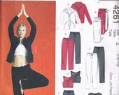 Exercise Spa Sports Bra Tops Pants skirt and Jacket  Sewing Pattern McCalls 4261 Plus Size L, XL Size 16, 18, 20, 22 Bust 38, 40, 42, 44