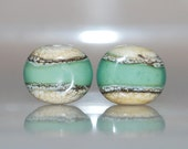Seafoam Beach Glass Handmade Lampwork Silvered Ivory Bead Pair