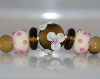 Coffee and Cream with Pink Spots Lampwork Glass Bead Set