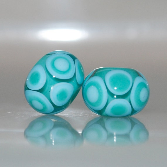 RESERVED Light Teal Spotty Lampwork Glass Bead Pair
