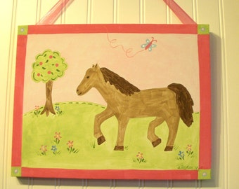 "Baby nursery decor Children wall art Nursery art paintings Kids girls room decor Nursery wall art 11 x 14 pink green horse ""pony dreams"""