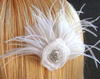 Hair, Bridal Accessories, White Feather Hairpiece, White Flower, Fabric Flower, Elegant Rhinestones, Handmade Bride