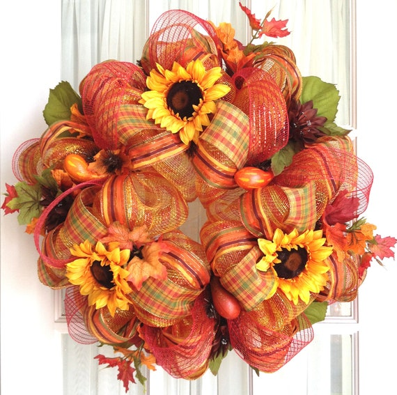 Deco Mesh FALL Wreath Gold Red Stripe Yellow Sunflowers Gourds Door Wreath