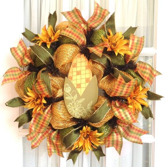 Deco Mesh Wreath FALL Slim Screen Door Lime Gold Moss Green Corn Fall Decor