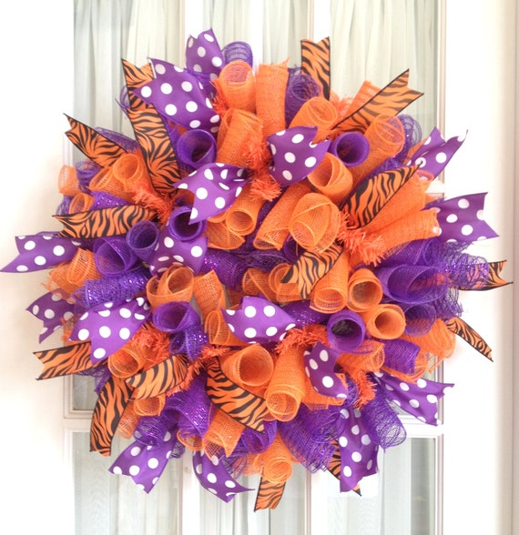 CLEMSON Tigers Deco Mesh Dorm Tailgating Wreath Orange Purple
