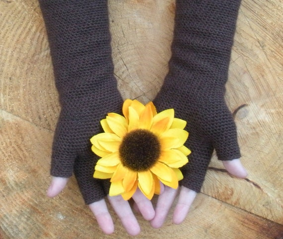 Extra long crochet fingerless gloves, half finger gloves, arm warmers in deep chocolate brown, MADE TO ORDER.
